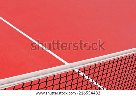 Detail of a tennis playground with a tennis net. Tennis court detail - stock photo