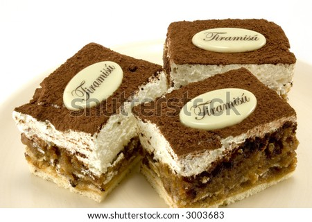Detail of a tiramisu desserts. - stock photo