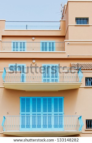 Detail of a townhouse with balconies in Spain