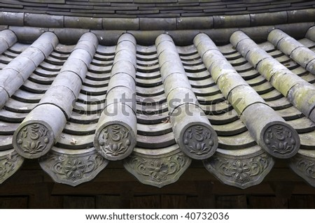 Detail of a Traditional Roof in South Korea - stock photo