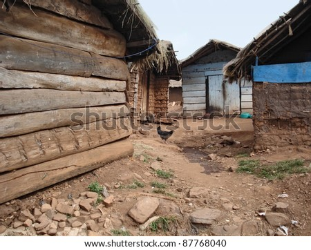 detail of a traditional small village in the Lake Victoria in Uganda (Africa) - stock photo