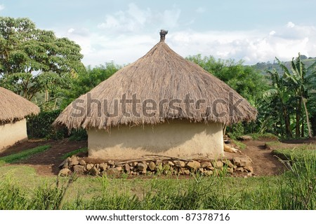 detail of a traditional small village near Rwenzori Mountains in Uganda (Africa) in sunny ambiance