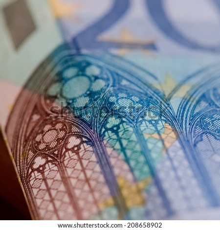 Detail of a twenty Euro bank note. - stock photo
