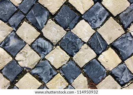 Detail of a typical portuguese pavement at Lisbon, Portugal - stock photo