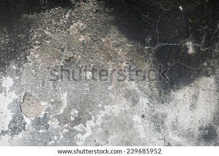 Detail of a wall destroyed by fire - stock photo