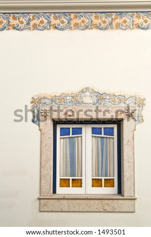 Detail of a window in Ericeira - Portugal. - stock photo