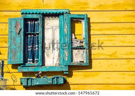 Detail of a window in La Boca, Buenos Aires - stock photo