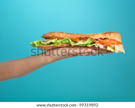 detail of a woman's hand, holding a big sandwich on blue background