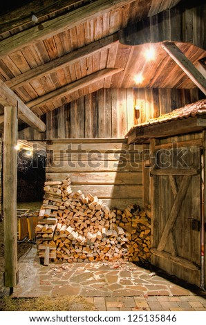 Detail of a wooden Barn at Night - stock photo