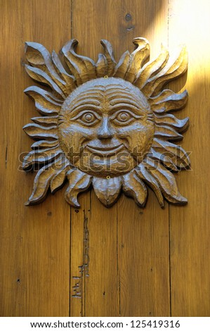 Detail of a wooden front door, Eguisheim, Haut-Rhin, Alsace, France. - stock photo