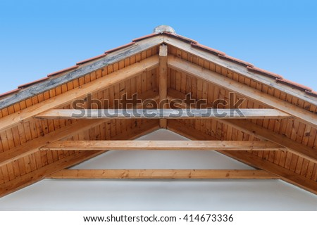 Detail of a wooden roof with rafter style framing - stock photo