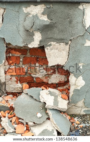 Detail of aged brick wall background
