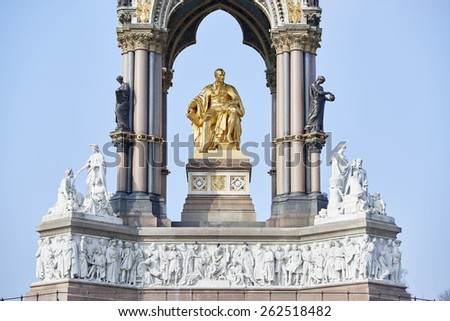 Detail of Albert Memorial, in Kensington Gardens, in London. The monument was commissioned by Queen Victoria in memory of her husband, who died in 1861. - stock photo
