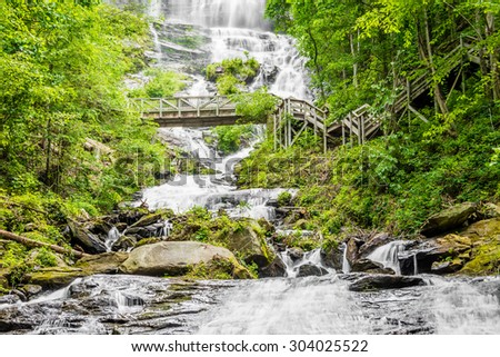 Detail of Amicalola Falls, stairs and foot bridge,  in Georgia's State Park. - stock photo