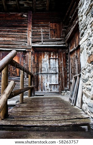 Detail of an Alpine house in Itali, close to Cogne, Gran Paradiso Park - stock photo