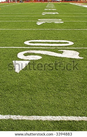 Detail of an American football field from player's perspective. - stock photo