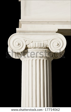 Detail of an ancient Greek pillar of ionic order - stock photo