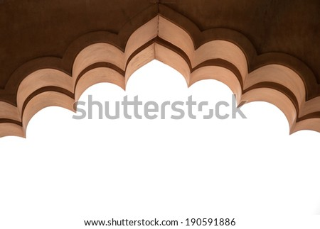 detail of an archway in the fort amber in india - rajasthan - jaipur - stock photo