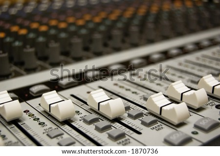 Detail of an audio mixing board with shallow DOF.