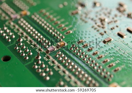 Detail of an electronic printed circuit board - selective focus