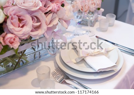 Detail of an elegant dinner setting - stock photo