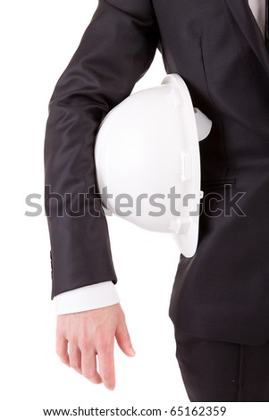 Detail of an engineer holding an helmet, isolated over white