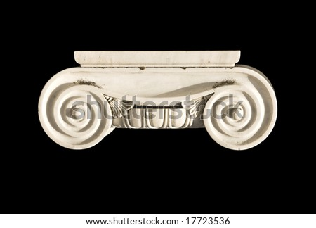Detail of an ionic order capital from an ancient Greek temple column - stock photo
