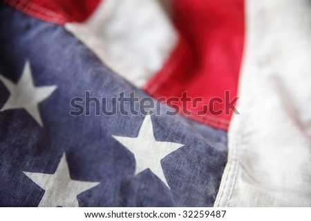 detail of an old American flag