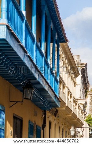 Detail of an old colonial buildings in Havana Vieja - stock photo