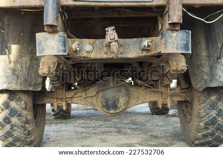 detail of an old, dirty military truck - stock photo