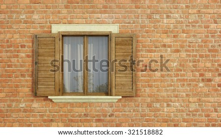 Detail of an old house with brick wall and  wooden window - 3D rendering - stock photo