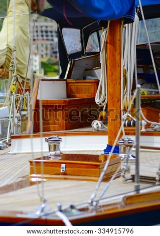 detail of an old sailing boat in the gulf of la spezia - stock photo