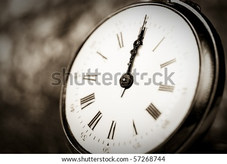 Detail of an old vintage clock - stock photo