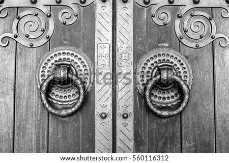 Detail of an old wooden door, detail of a door knocker