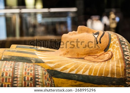 Detail of an original Egyptian sarcophagus - stock photo