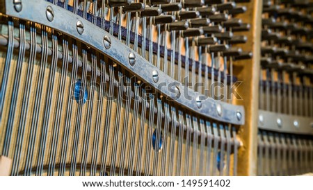 Detail of an upright piano sound board and  tuning sockets  - stock photo