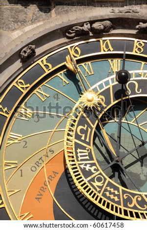 Detail of ancient astronomical Clock on the Old Town Square in Prague - stock photo