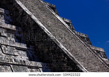 Detail of ancient stairs of a Mayan pyramid in Chichen Itza Archaeological site in Yucatan Peninsula, Mexico - stock photo