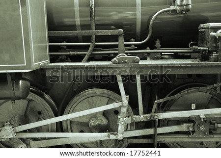 Detail of ancient train in monochromatic color tone