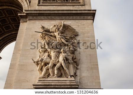 Detail of Arc de Triomphe, Paris - stock photo