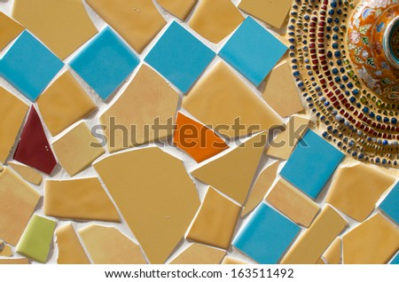 detail of art tile wall in thai temple - stock photo