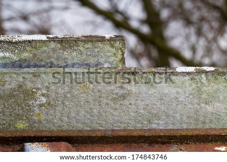 Detail of asbestos roofing on a rusty frame - stock photo