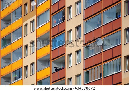 Detail of balconies in a block of flats - stock photo