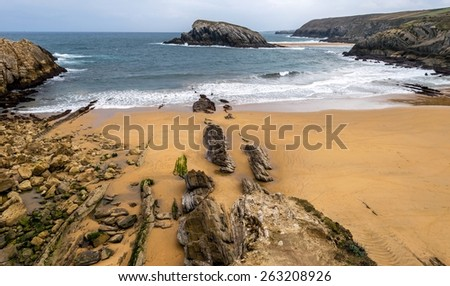 Detail of bare rocks because of low tide at Arnia beach (Pielagos, Cantabria) - stock photo