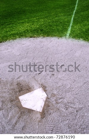 Detail of baseball home plate and first base line - stock photo