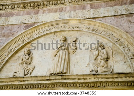 detail of basilica Francis in Assisi - stock photo