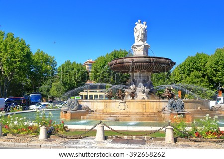 Detail of beautiful fountain in Aix en Provence, Languedoc Roussillon, France