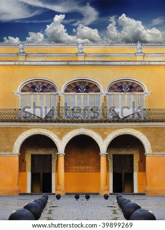 Detail of beautiful typical colonial building in Old havana, cuba - stock photo