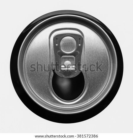 Detail of beer can top isolated over white in black and white
