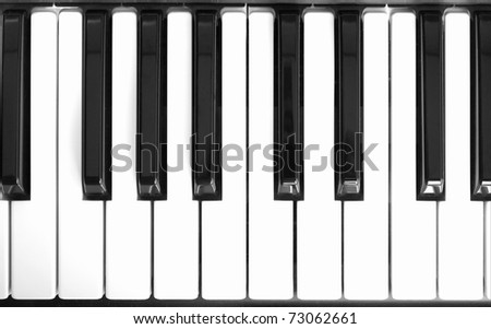 Detail of black and white keys on music keyboard - stock photo